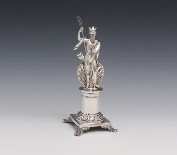 A SILVER TOOTHPICK HOLDER REPRESENTING NEPTUNE